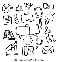 vector hand drawn business set sketch ink doodle icons