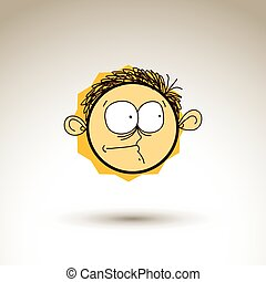 Vector hand drawn cartoon curious boy. Web avatar theme graphic design element isolated on white. Social conversation idea artistic drawing.