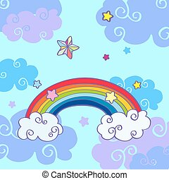 Vector hand drawn cartoon rainbow and clouds