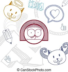 Vector hand drawn cartoon scared girl with modern haircut. Education theme graphic design elements isolated. Social conversation idea drawing.