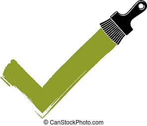 Vector hand-drawn check mark isolated, validation sign created with paintbrush. Green acceptance symbol made with brushstrokes, choice concept.