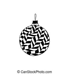 Vector Hand Drawn Christmas Ball Toy With In Zentangle Style Coloring Page Book