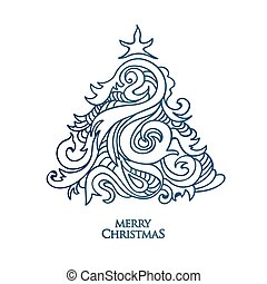 Vector hand drawn christmas tree