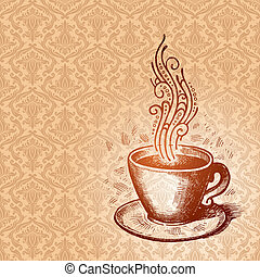 Vector hand drawn coffee cup on a damask seamless pattern background