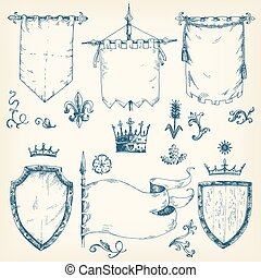 Vector hand drawn collection of heraldic templates: shield, flag