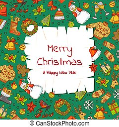 Vector hand drawn colored christmas elements with santa, xmas tree, gifts and old parchment paper background with place for text