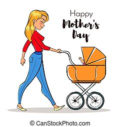 Vector hand drawn colorful illustration of happy mother with a baby