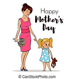 Vector hand drawn colorful illustration of happy mother with her daughter.