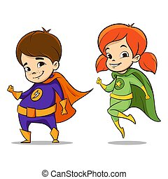 Vector hand drawn colorful illustration of two happy super hero kid