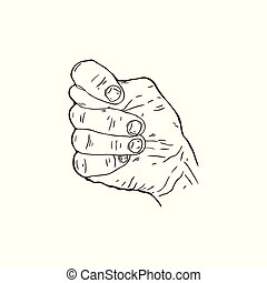 Fig - Vector hand drawn contour illustration of the hand...