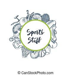 Vector hand drawn contoured sports equipment