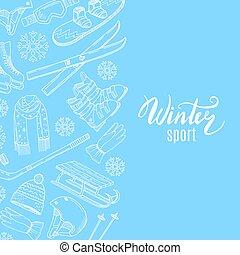 Vector hand drawn contoured winter sports equipment