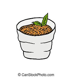 Vector hand drawn creme brulee. French cuisine dessert. Design sketch element for menu cafe, bistro, restaurant, bakery, label and packaging. Colorful illustration on a white background.