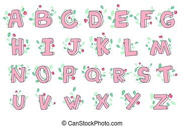 Vector hand-drawn cute alphabet with floral decoration, font, letters. 3D doodle ABC for kids.