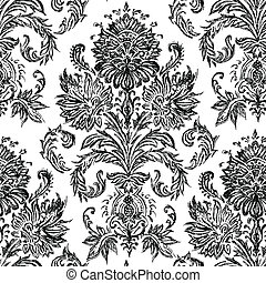 Vector Hand Drawn Damask Pattern. Easy to make large patterns with.