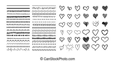 Vector hand drawn design elements isolated on white background, black drawings, freehand brush stroke.