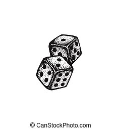 vector hand drawn dice illustration