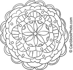 Vector hand drawn doodle floral mandala ornament outline