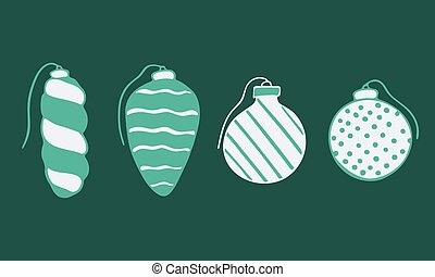 Vector hand drawn doodle illustration of Christmas tree ornaments set