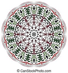 Vector hand drawn doodle mandala with hearts.