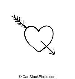 Vector hand drawn doodle sketch heart with arrow