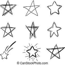 Vector Hand Drawn Doodle Stars, Scribble Drawings, Black Lines Isolated on White Background.