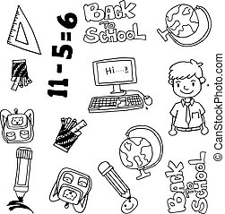 vector hand drawn doodle with education items
