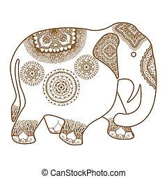 vector hand-drawn Elephant