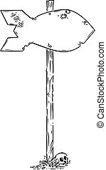 Vector Hand Drawn Empty Traffic Arrows Sign in Shape of Nuclear Atomic Bomb. Nuclear War Concept