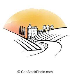 hand drawn farm houses sketch