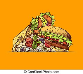 Vector hand drawn fast food burger, taco, pizza illustration