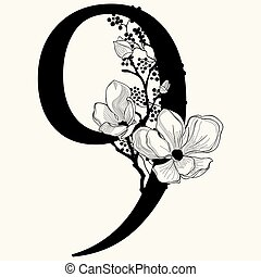 Vector Hand Drawn floral Number Nine monogram and logo