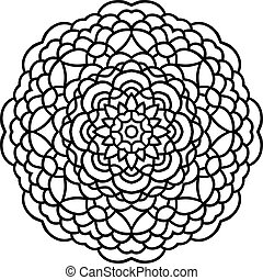Vector hand drawn flower mandala, circular floral design element with black contour on white background