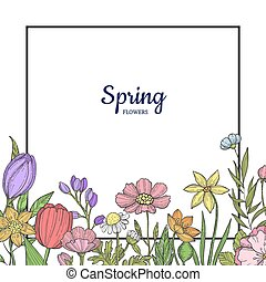 Vector hand drawn flowers background with place for text illustration