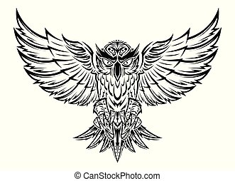 Vector hand drawn flying owl tattoo.