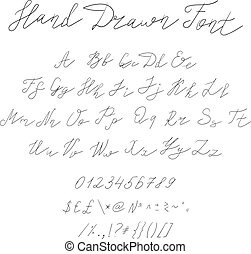 Vector Hand Drawn Font, Calligraphic Handwritten Typeset, Black Sketched Lines, Letters and Symbols.
