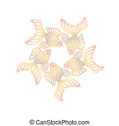 Vector hand drawn goldfishes floating in a circle. Line art...