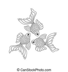 Vector hand drawn goldfishes floating in a circle. Line art ...