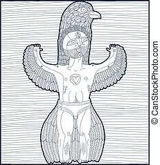 Vector hand drawn graphic stripy illustration of bizarre creature, cartoon nude man with wings, animal side of human being. Idol concept, free as bird allegory drawing.