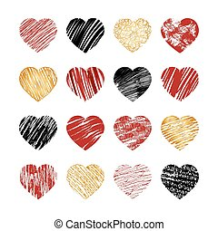 Vector hand drawn heart icons for valentines and wedding