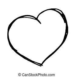 Vector hand drawn heart Isolated, doodle illustration