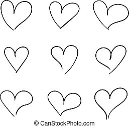 Vector Hand Drawn Hearts Set, Doodle Drawings Love Symbols, Isolated on White Background Illustration.