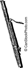 Vector hand drawn illustration of bassoon. Black and white, isolated on white.