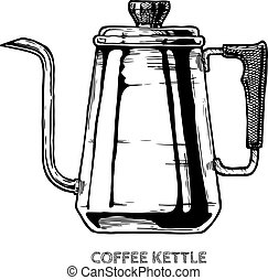 illustration of coffee kettle - Vector hand drawn ...