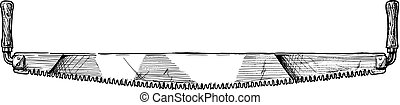 illustration of crosscut saw - Vector hand drawn ...