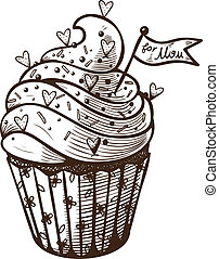 Vector hand drawn illustration of cupcake
