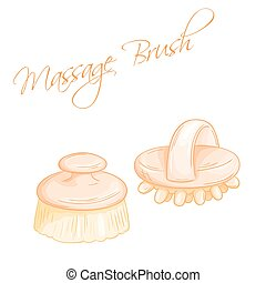 vector hand drawn illustration of isolated massage brushes
