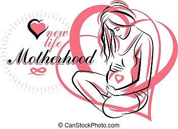 Vector hand-drawn illustration of pregnant elegant woman...