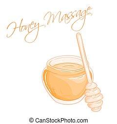 vector hand drawn illustration of isolated massage honey