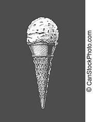 Vector hand drawn illustration of ice cream scoop in a cone in vintage engraved style. Isolated on black background.
